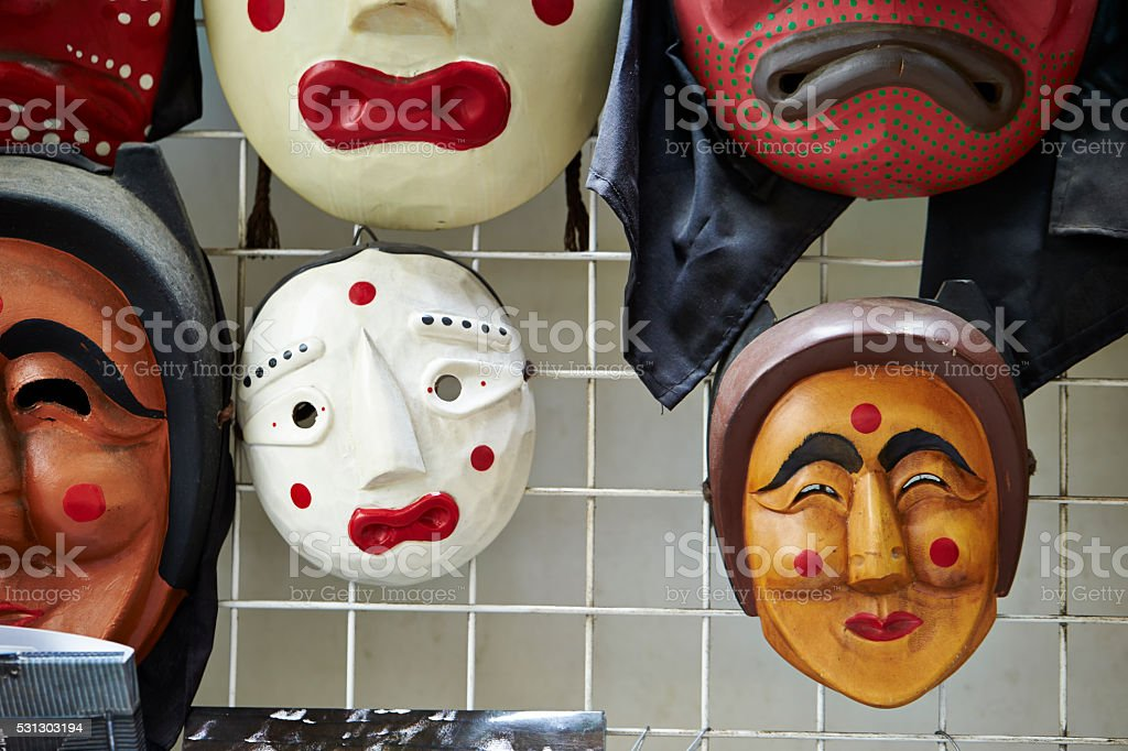 Korean traditional masks stock photo