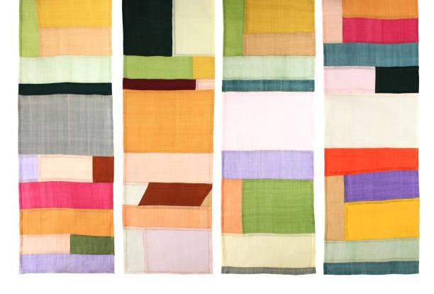 koreanische traditionelle patchwork hintergrund der ramie-stoff von hand gefertigt. - patchworkstoffe stock-fotos und bilder