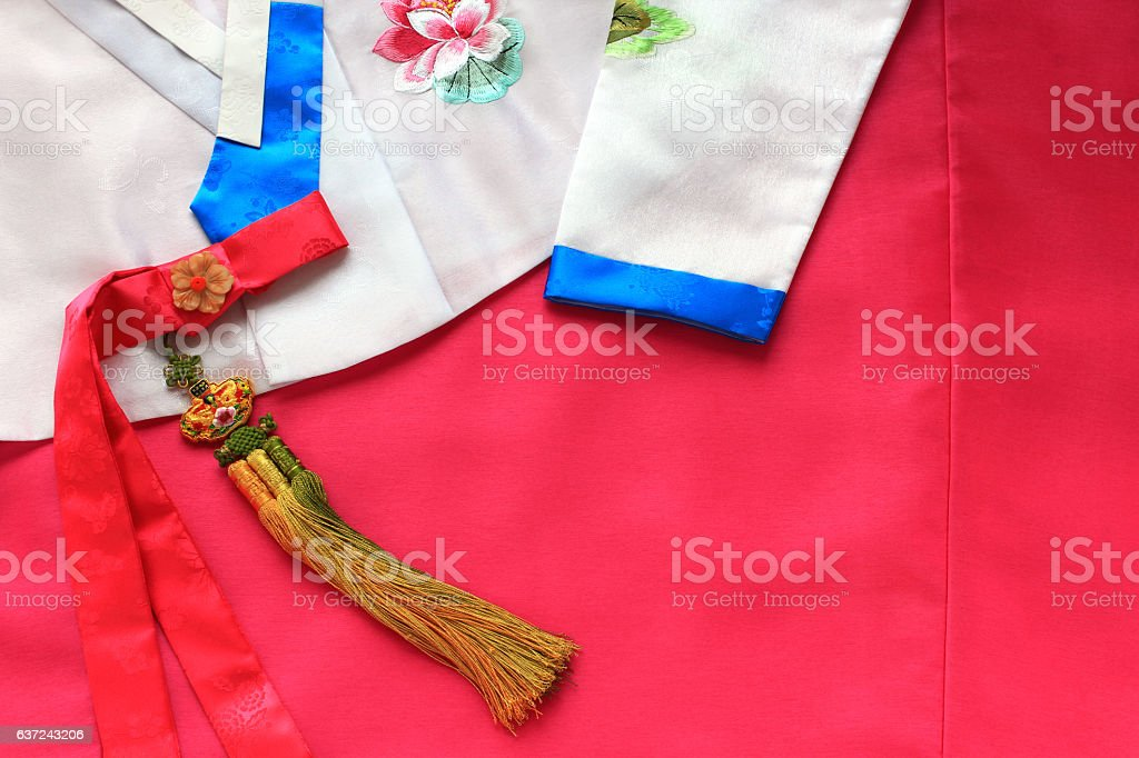 Korean traditional silk dress background. stock photo