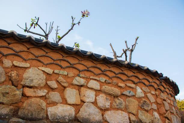 Korean traditional stone wall. stock photo