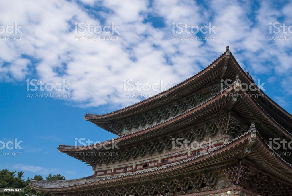 Korean traditional style roof stock photo