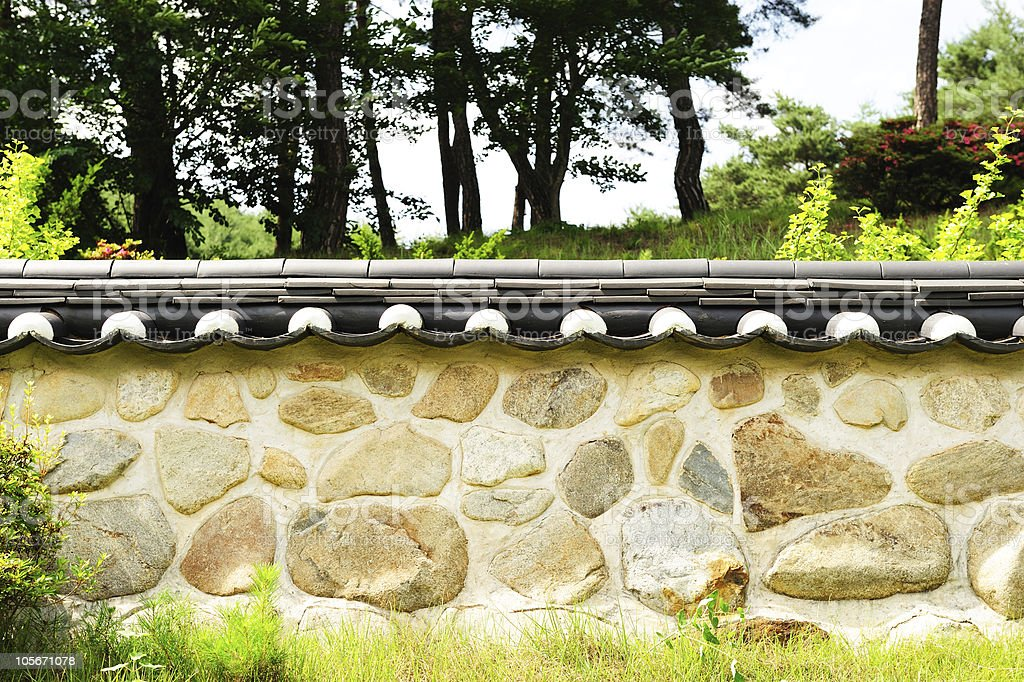 korean traditional wall royalty-free stock photo
