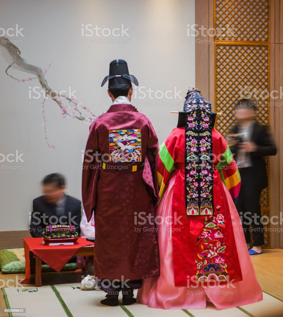 korean traditional wedding ceremony stock photo