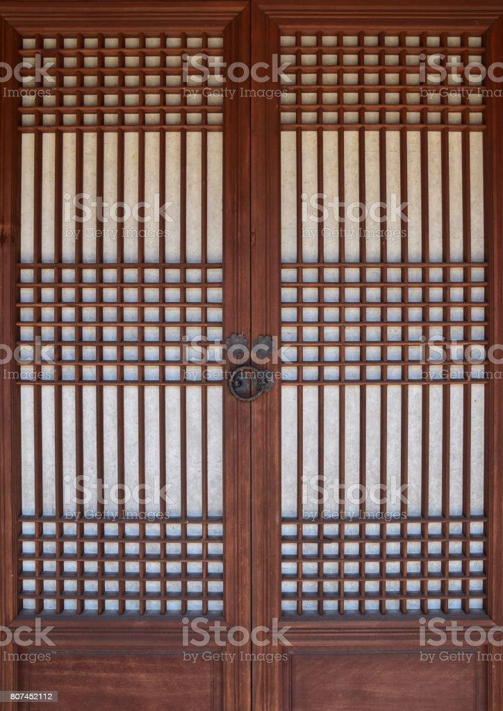 Korean traditional window and door pattern stock photo