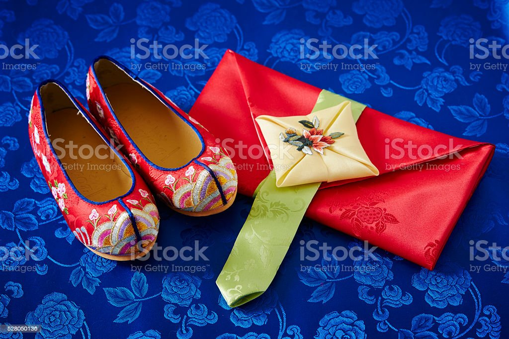 Korean traditional wrapping cloth and shoes stock photo