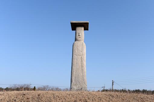 Korean Treasure No.46 Stone Standing Buddhas in Godo-ri, Iksan, South Korea.