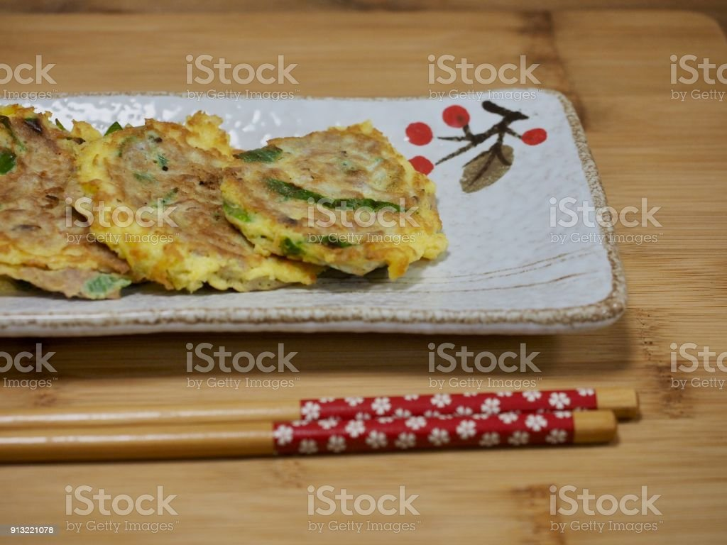 Korean Tuna meatball, grilled tuna eggs stock photo