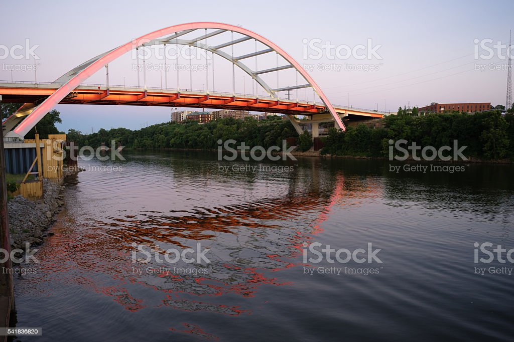 Korean Veterans Blvd Bridge Cumberland River Nashville Tennessee stock photo