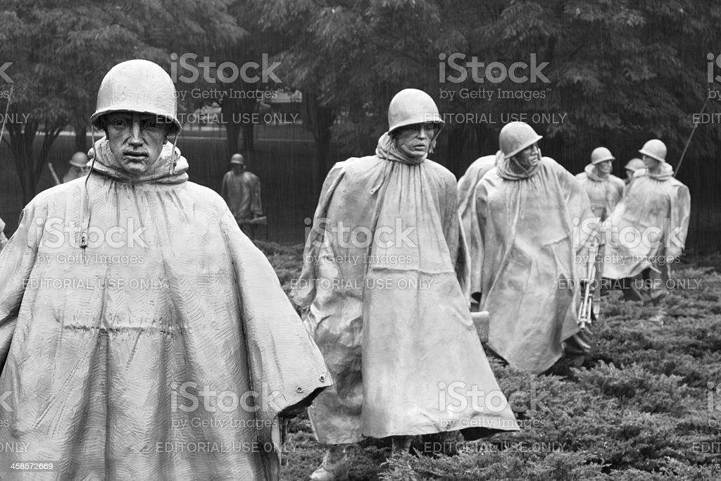 Korean War Memorial in Washington DC, USA Washington DC, United States of America - June 20, 2009: close-up of the Korean War Veterans Memorial in Washington DC, USA. Designed by Frank Gaylord, the stainless steel statues represent a squad on patrol in Korea. Armed Forces Stock Photo