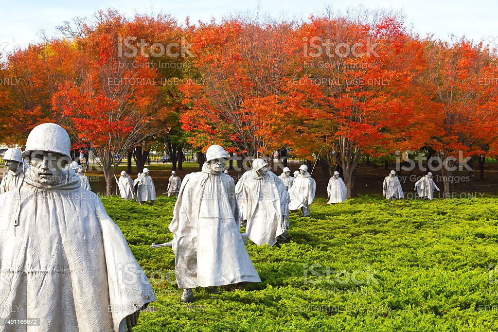 Washington DC, USA - November 09, 2014: Korean War Memorial. stock photo