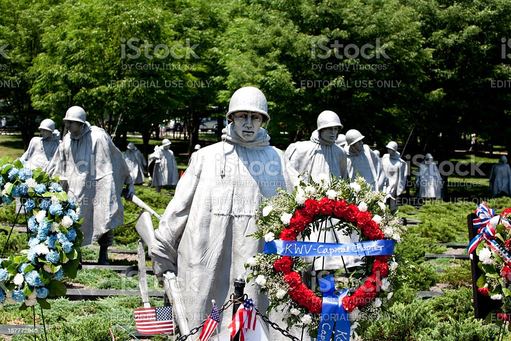 Korean War Memorial with Floral Wreaths royalty-free stock photo