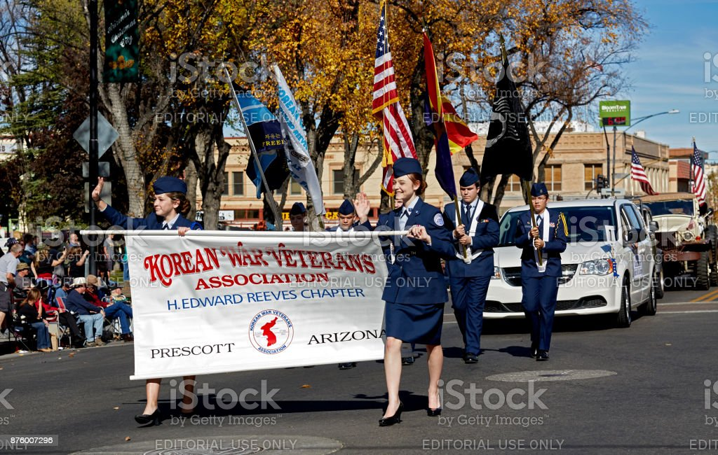 Korean War Veterans Association in Veterans day Parade stock photo