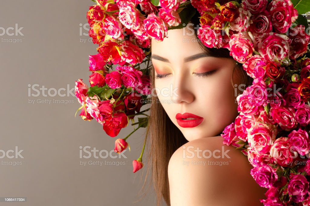 Korean Woman With Bright Makeup And Roses On Head Closeup Stock Photo Download Image Now Istock