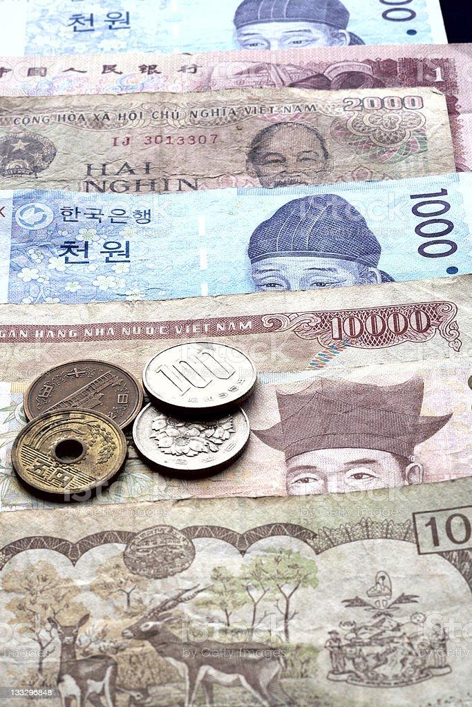 Korean won and Vietnamese Dong. royalty-free stock photo