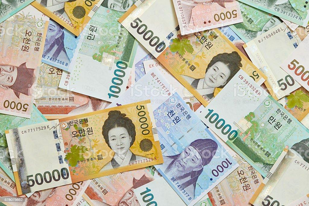 Korean won bills stock photo