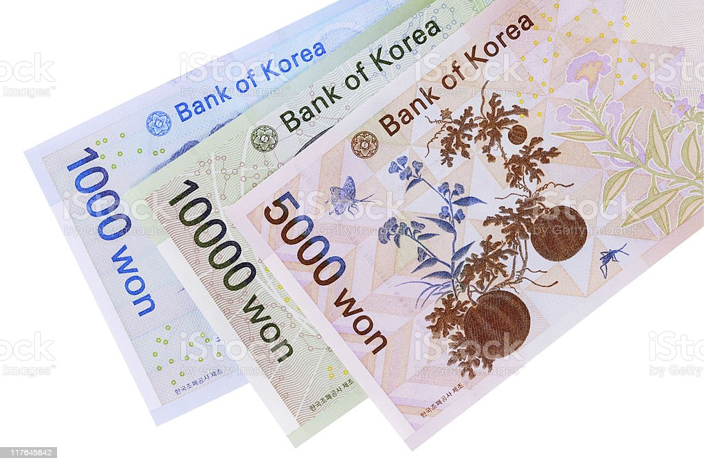 Korean Won currency bills royalty-free stock photo
