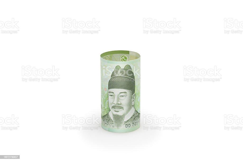 Korean Won currency bills royalty-free stock photo