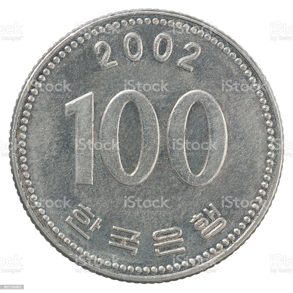 korean wons coin stock photo