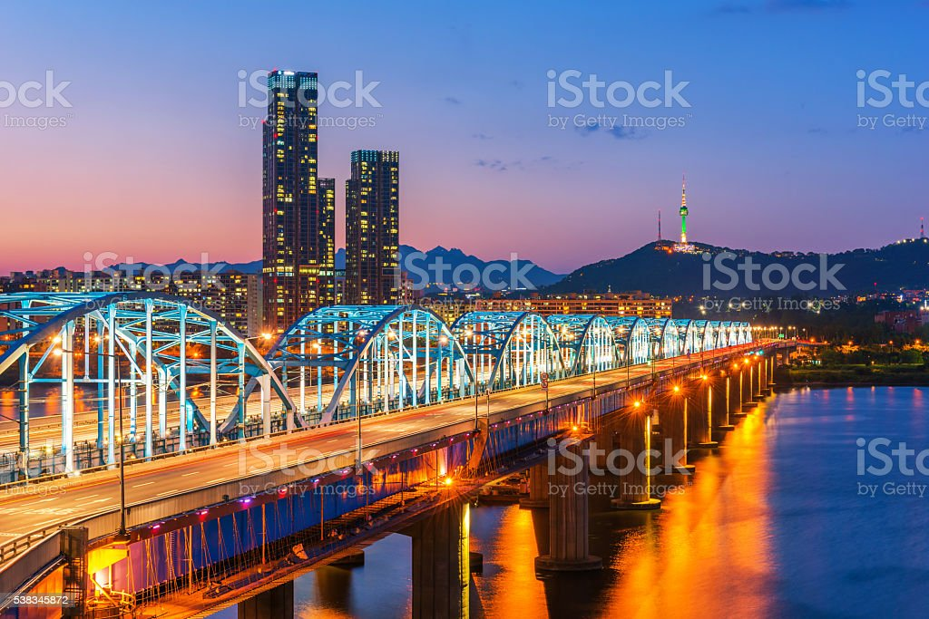 Korea,Seoul at night, South Korea city skyline stock photo