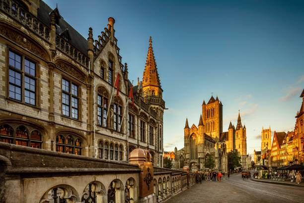 Korenmarkt (Central Square) of Ghent, Belgium stock photo