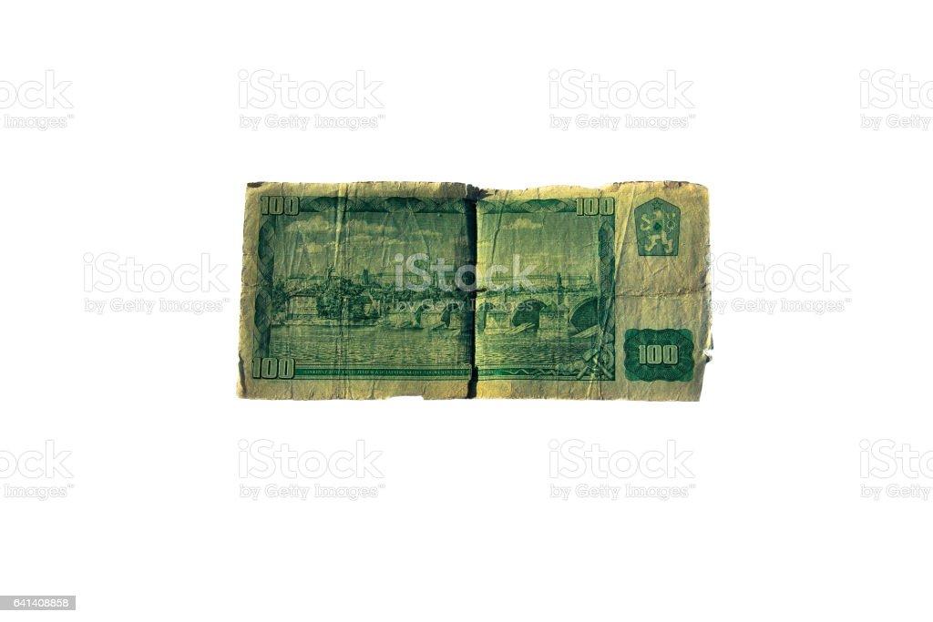 100 koruna bill of Czechoslovakia isolated on the white background stock photo