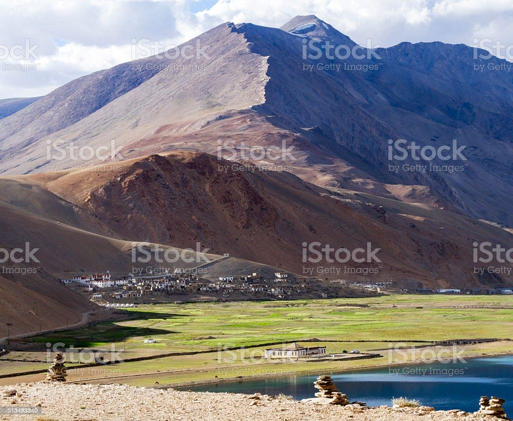 Korzok monastery and village, Himalayan mountains and Tso Moriri lake stock photo