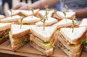 Food catering. Holiday treats. Cuisine Culinary Gourmet Buffet. Kosher catering background. Food industry. Business lunch, snack. Catering menu. Vegan sliders, ham, vegetable slider bar