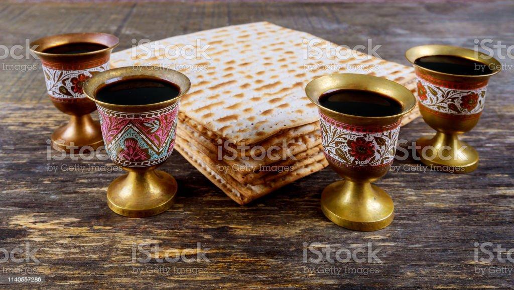 Kosher four glasses wine passover bread holiday jewish matzoh...