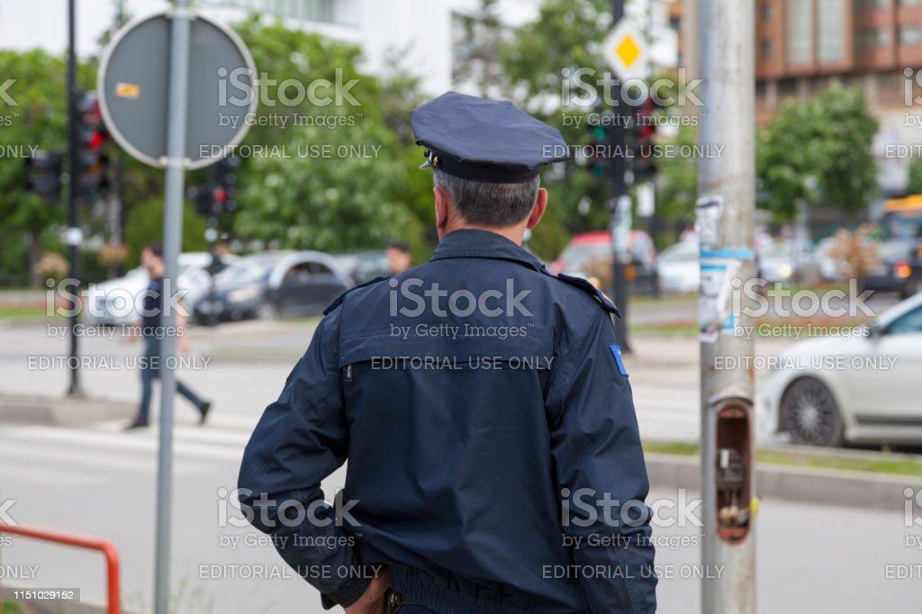 Kosovan policeman stock photo