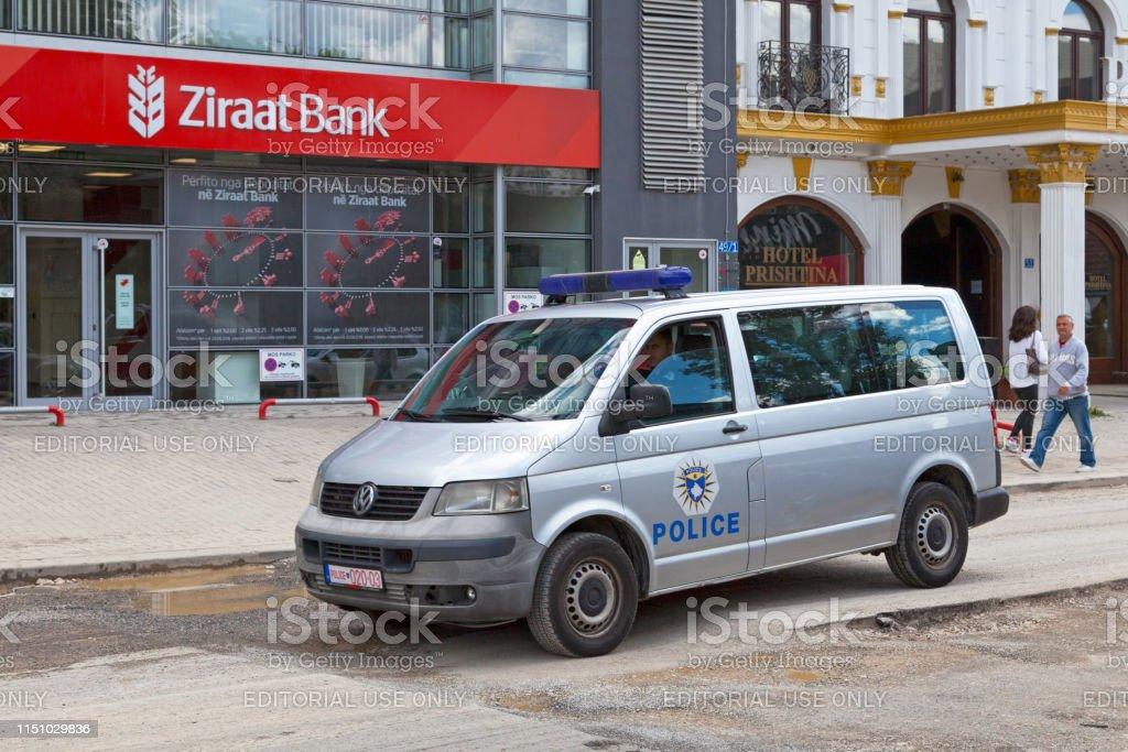 Kosovar police van stock photo