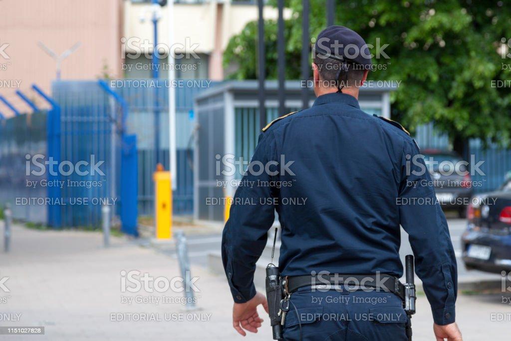 Kosovar policeman stock photo