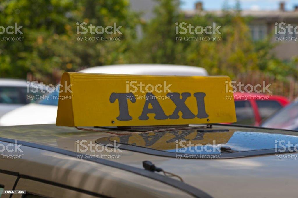 Kosovar taxi sign stock photo