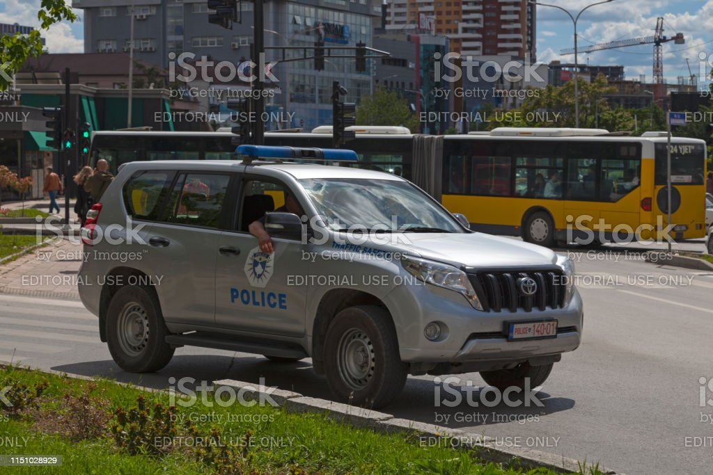 Kosovar Traffic Safety Police car stock photo