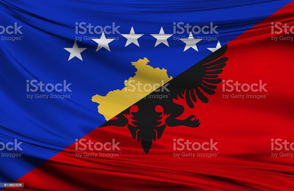Kosovo and Albanian flag stock photo