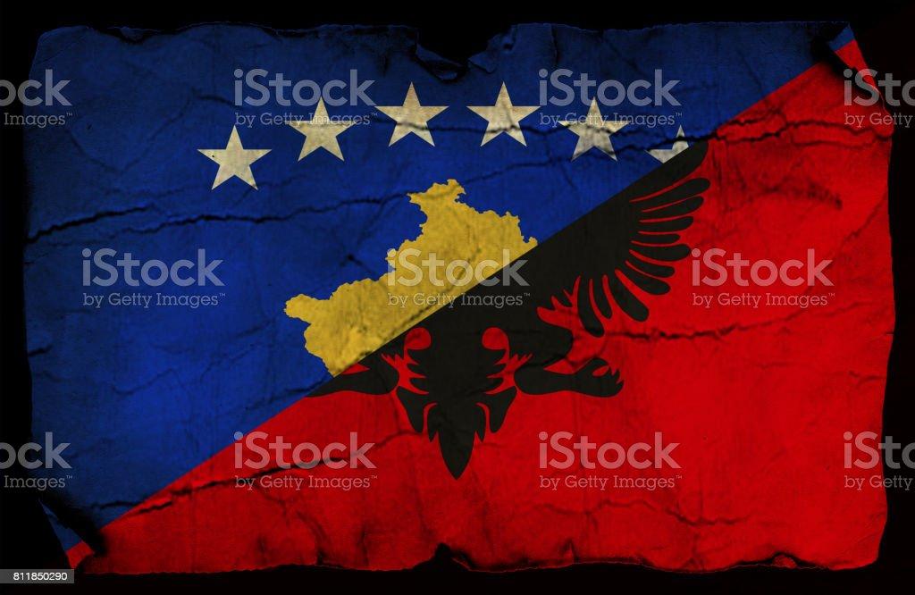 Kosovo and Albanian grunge flag stock photo