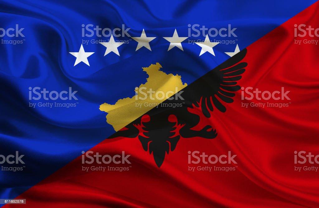 Kosovo and Albanian waving flag stock photo