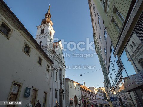 Picture of the street of Frantiskanska Ulice, in Brno, Czech republic, with the saint mary magdalene church on the left, called as well Kostel svate mari magdaleny. Brno is the second biggest city of Czechia and the capital of Moravia.