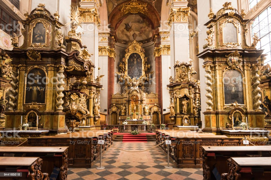 PRAGUE, CZECH REPUBLIC, APRIL 19, 2016,Kostel svatého Jiljí, beautiful church in old town square stock photo