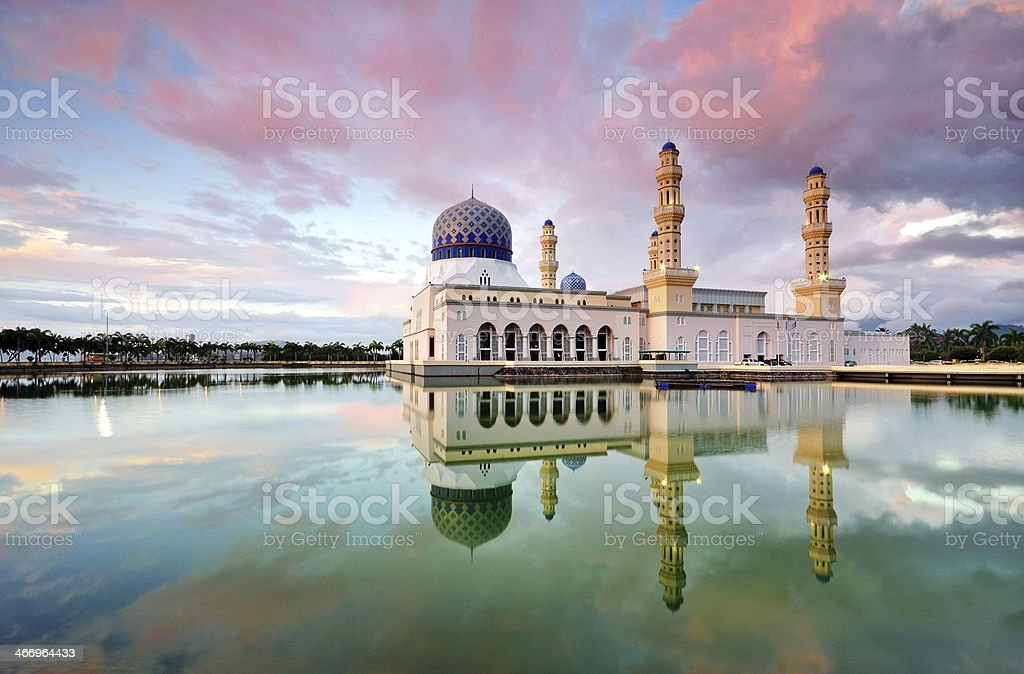 Kota Kinabalu City Mosque Reflection during sunset stock photo