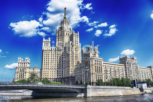 Kotelnicheskaya Embankment Building is one of seven Stalinist skyscrapers laid down in September 1947 and completed in 1952, designed by Dmitry Chechulin, Moscow, Rusiia