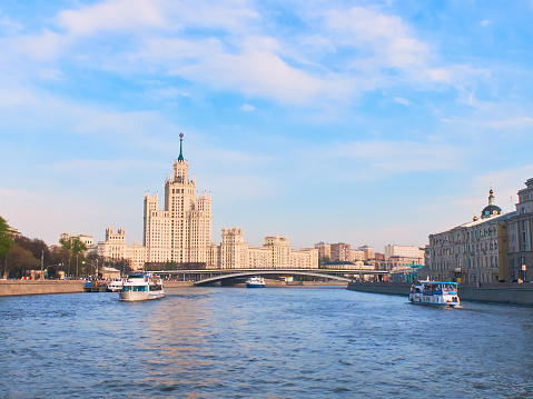 Kotelnicheskaya Embankment Building. View from Moscow River.