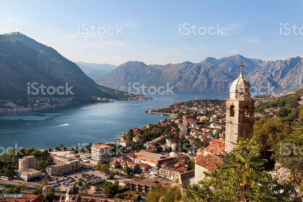 Kotor bay is most beautiful place in Montenegro The Kotor bay is one of the most beautiful places in Montenegro. Top view. Adriatic Sea Stock Photo