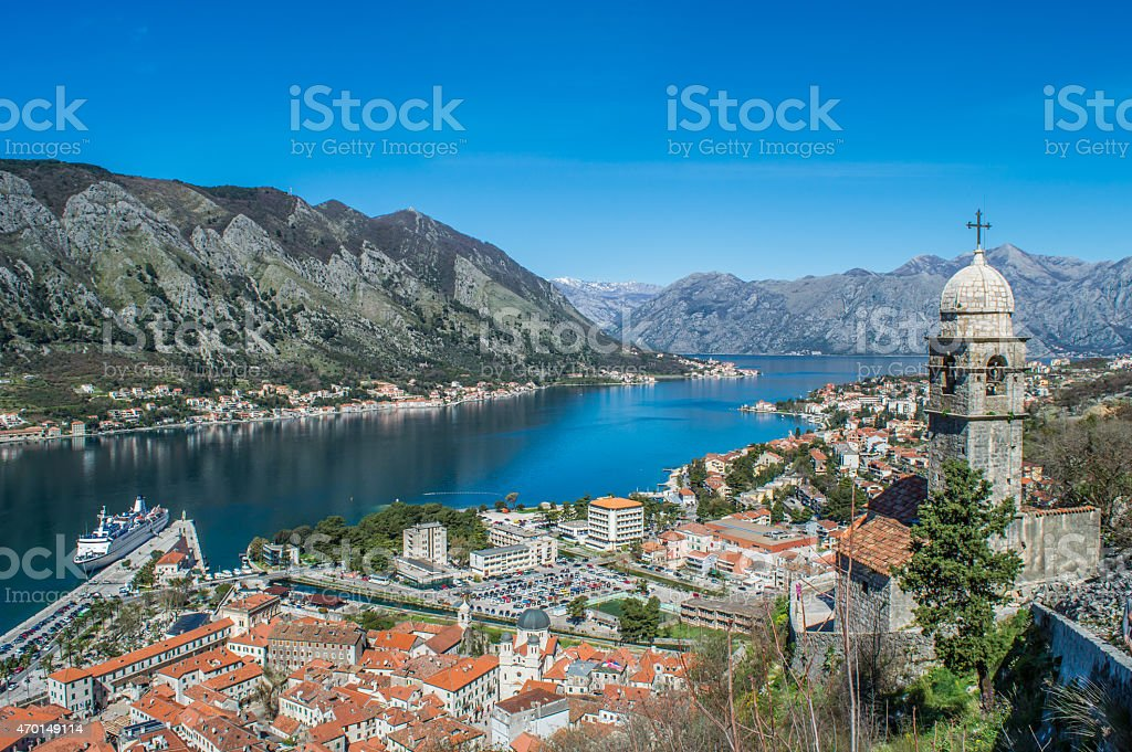 Kotor bay stock photo