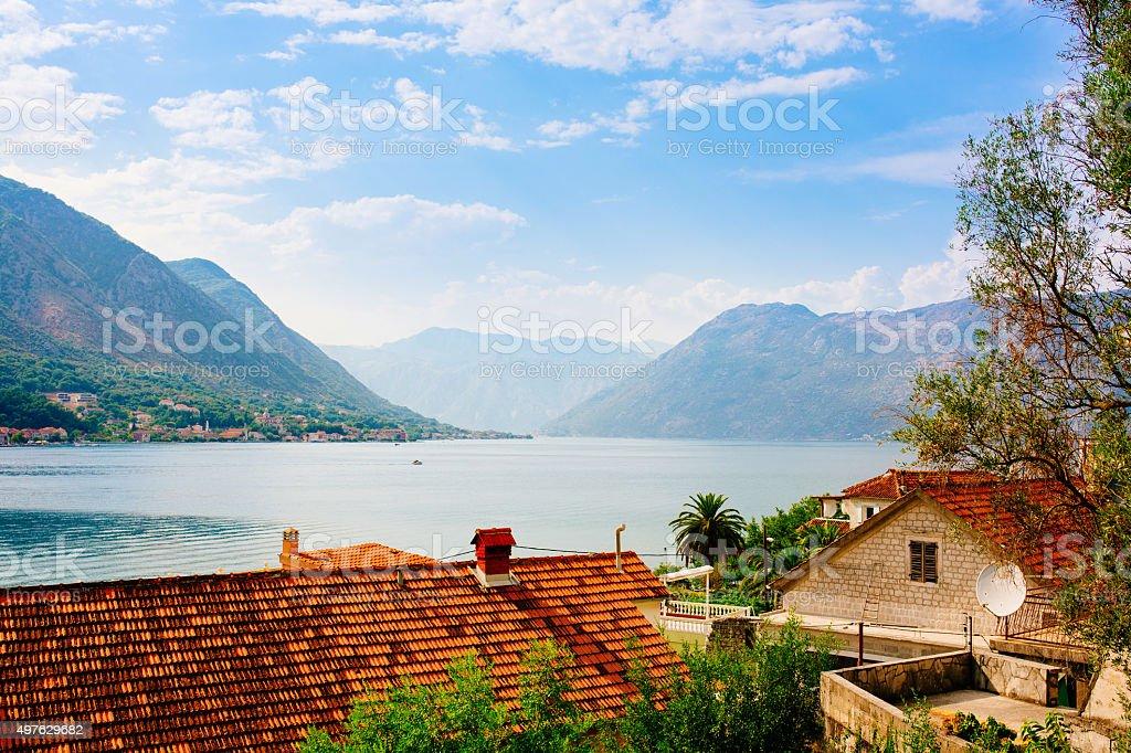 Kotor bay seascape, Montenegro. stock photo