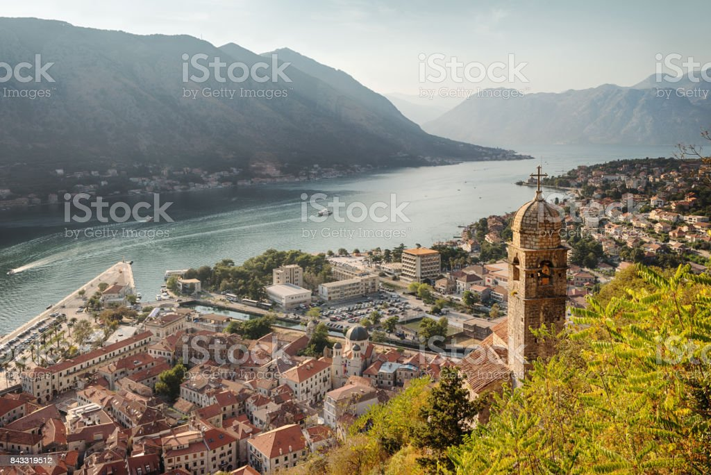 Kotor Cityscape and Church of Our Lady of Remedy stock photo