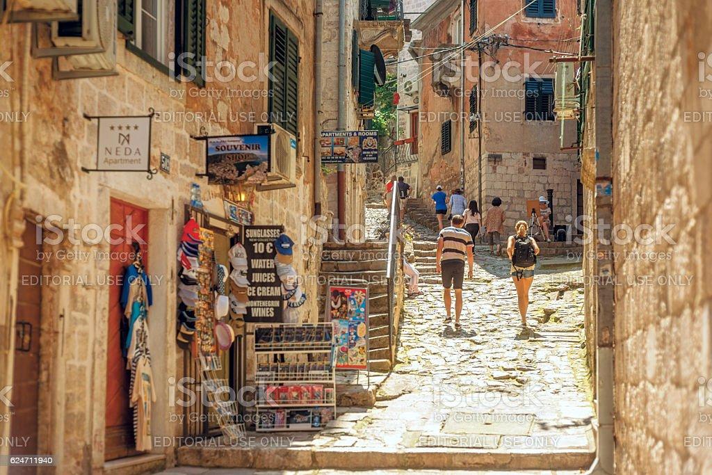 Kotor, entrance to Saint Giovani Castle stock photo