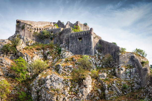 Kotor Fortress on Mountain Top St John Fortress Montenegro stock photo