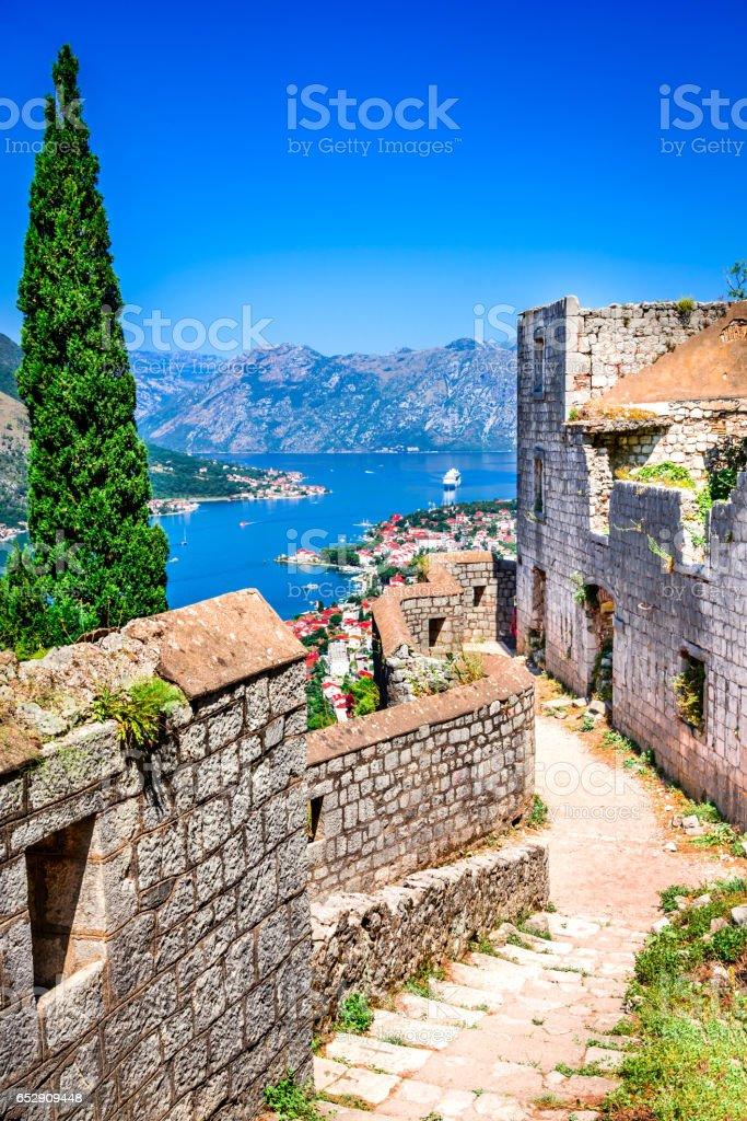 Kotor, Montenegro - Bay of Kotor stock photo