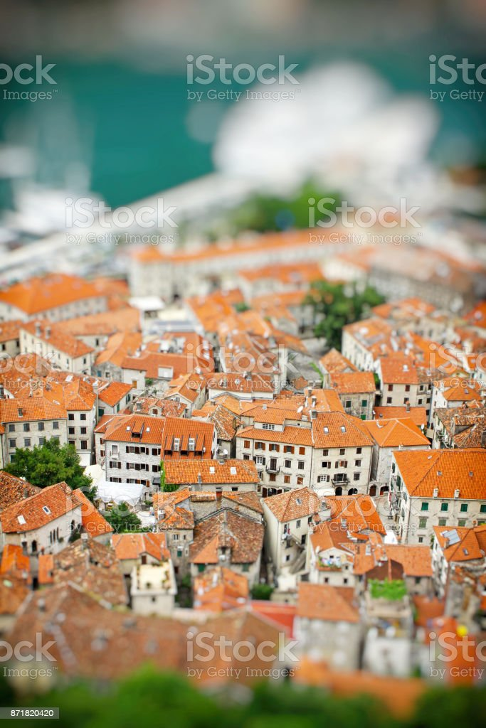 Kotor old town, Montenegro. Tilt-shift Miniature Effect stock photo