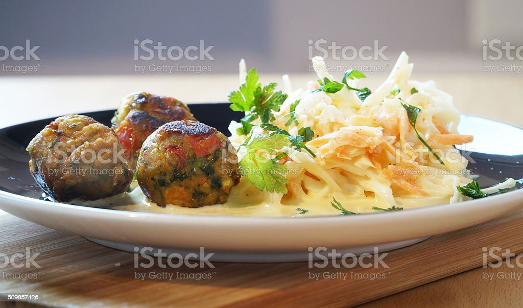 Kottbullars with coleslaw stock photo